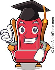 Graduation king throne character cartoon vector illustration