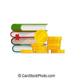 Graduation knowledge cost or expensive education or scholarship loan vector, flat cartoon money and stack of books, idea of tuition budget or college, university learning fee, profit or earnings image