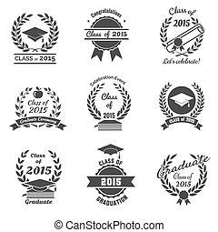 Graduation labels. High School and congratulations graduate logo set