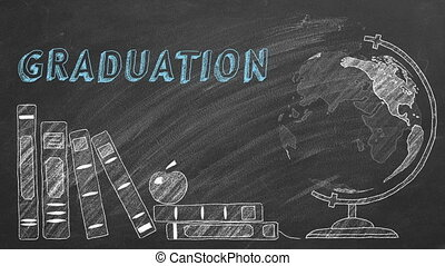 Lettering GRADUATION, rotating globe and school books are drawn with chalk on a blackboard.