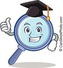 Graduation magnifying glass character cartoon