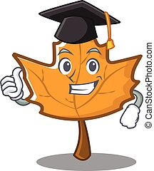 Graduation maple character cartoon style