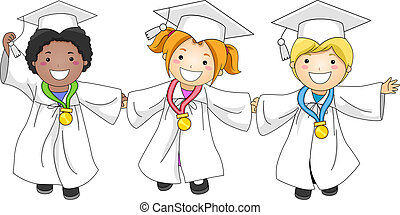 Graduation Medals - Illustration of Kids Decorated with...