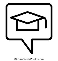 Graduation message line icon. Graduate hat in speech bubble vector illustration isolated on white. Graduation cap in speech bubble outline style design, designed for web and app. Eps 10.
