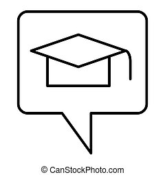 Graduation message thin line icon. Graduate hat in speech bubble vector illustration isolated on white. Graduation cap in speech bubble outline style design, designed for web and app. Eps 10.