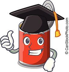 Graduation metal food cans on a cartoon vector illustration