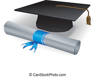 Graduation mortar and diploma with blue ribbon
