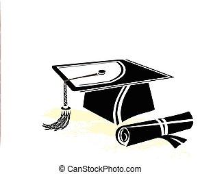 Graduation mortar and diploma with blue ribbon