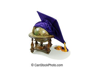 Graduation mortar board and globe