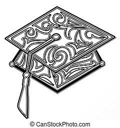 Graduation mortar board stylized with floral scrolls.