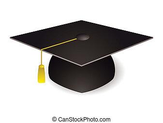 Graduation mortar board hat - Black graduation mortar board...