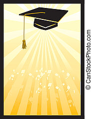 Graduation mortar card in yellow spotlight.