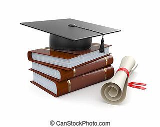 graduation., mortarboard, 畢業証書, 以及, books., 3d