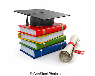 Graduation. Mortarboard, diploma and books. 3d