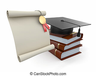 Graduation. Mortarboard, diploma and books. Space for text