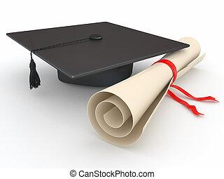 graduation., mortarboard, en, diploma., 3d