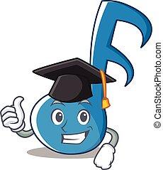 Graduation Music Note Character Cartoon