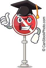 Graduation no right turn with cartoon shape