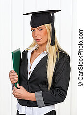 Graduation of a student review - Young woman ready to...