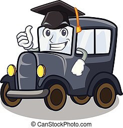 Graduation old car isolated in the cartoon