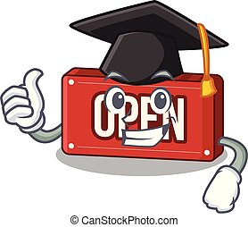 Graduation open sign isolated in the cartoon