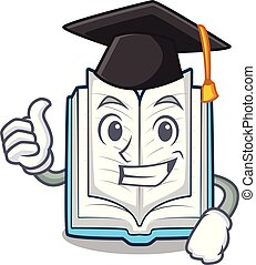 Graduation opened book isolated in the character