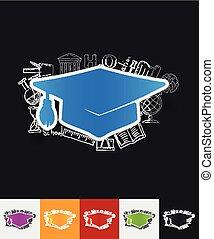Graduation paper sticker with hand drawn elements