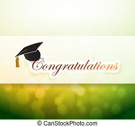graduation., parabéns, luz, bokeh, sinal