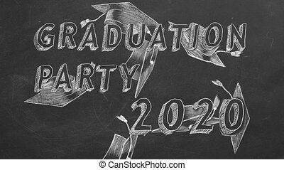 "Graduation party 2020 - Hand drawing text ""Graduation party..."