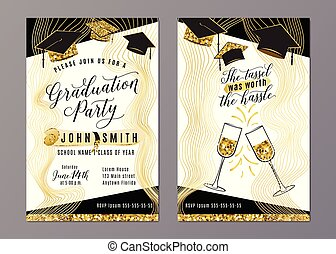 Graduation party class of 2018 vertical invitation card