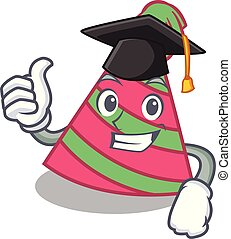 Graduation party hat character cartoon vector illustration
