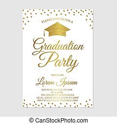 Graduation party invitation card template. Gold glitter polka dots grad party invite. Graduation celebration announcement. Vector illustration.