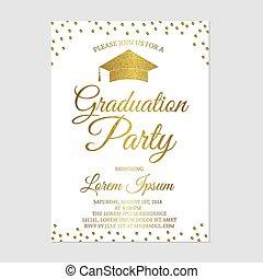 Graduation party invitation card template. Gold glitter polka dots grad party invite. Graduation celebration announcement. Vector illustration.