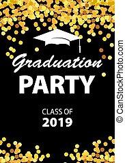 Graduation party invitation card with golden confetti, glitter, graduation cap, and black background, vector illustration.