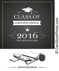 Graduation party invitation vector card, education...