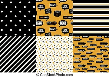 Graduation pattern collection. Black and golden vector background for graduation party or ceremony invitation, greeting card or web page and poster design. Vector flat.
