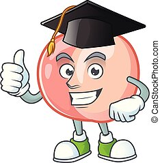 Graduation peach character mascot for cute emoticon