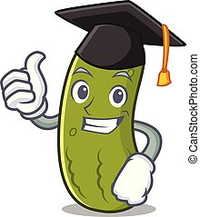 Graduation pickle character cartoon style