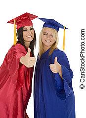 Graduation - Beautiful Caucasain girls in gratuation gowns...