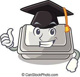 Graduation plastic box in the mascot shape