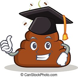 Graduation Poop emoticon character cartoon