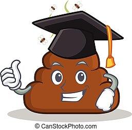 Graduation Poop emoticon character cartoon