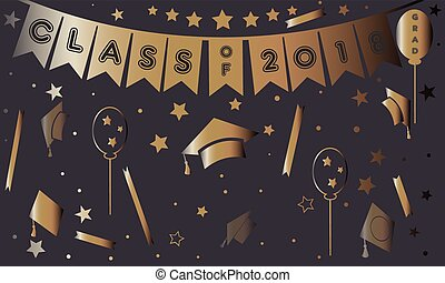 Graduation Poster in gold on purple