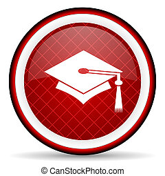 graduation red glossy icon on white background