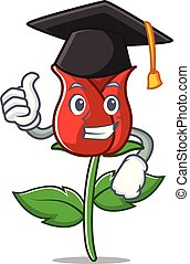 Graduation red rose character cartoon