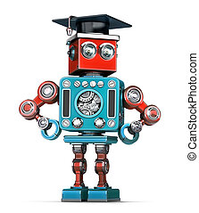 Graduation Retro Robot. Isolated. Contains clipping path -...