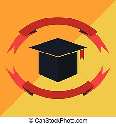 Graduation Ribbon Flat Color Vector