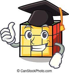 Graduation rubik cube character cartoon