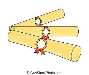 graduation school certificate rolls medals