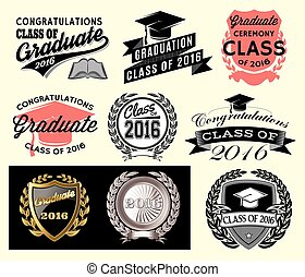 Graduation sector set Class of 2016, Congrats grad Congratulations Graduate